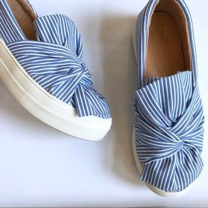 AND Striped Bow Sneakers sz 6 Blue & White